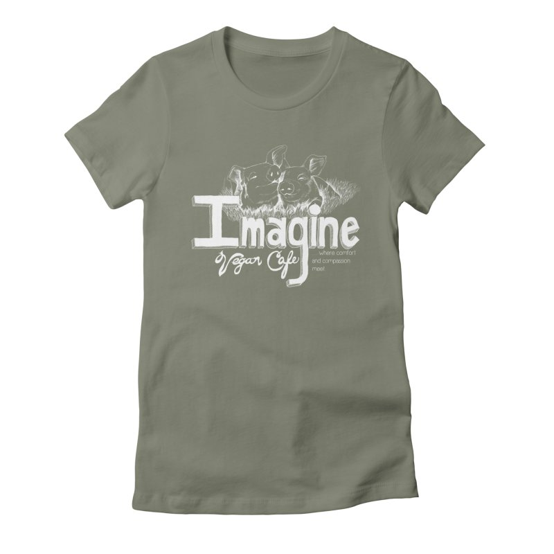 Imagine White Women's Fitted T-Shirt by Imaginevegancafe's Artist Shop
