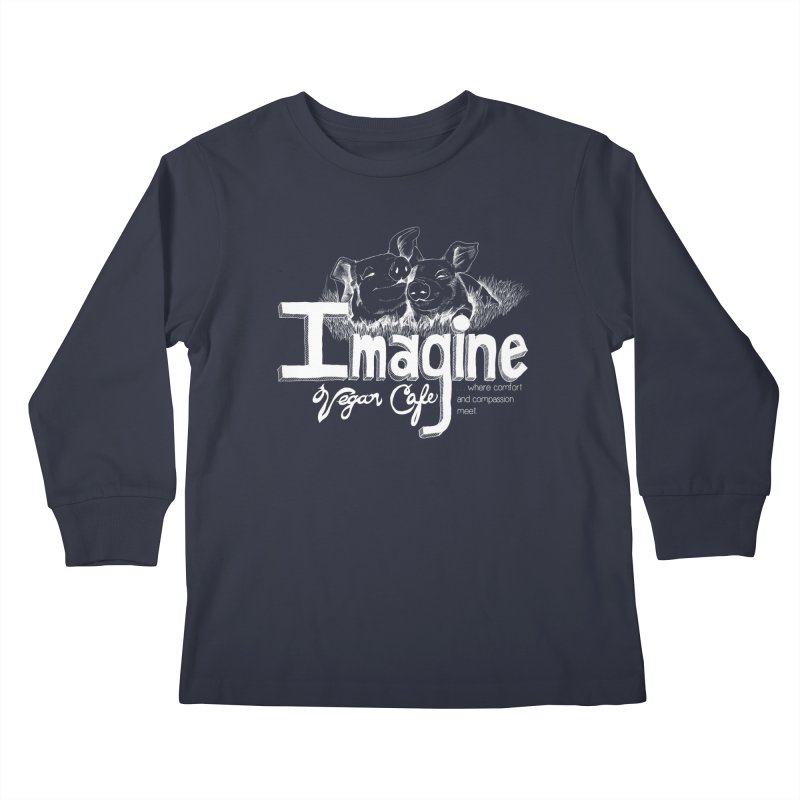 Imagine White Kids Longsleeve T-Shirt by Imaginevegancafe's Artist Shop