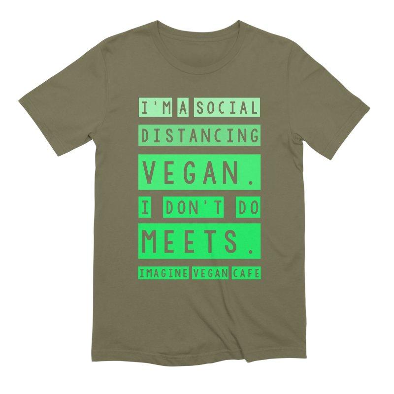 Social Distance Vegan Men's Extra Soft T-Shirt by Imaginevegancafe's Artist Shop