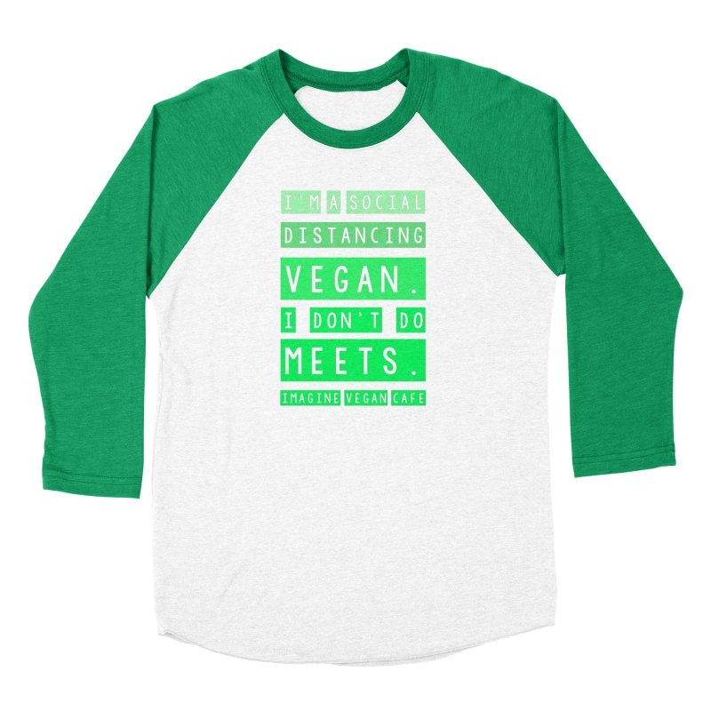 Social Distance Vegan Women's Baseball Triblend Longsleeve T-Shirt by Imaginevegancafe's Artist Shop