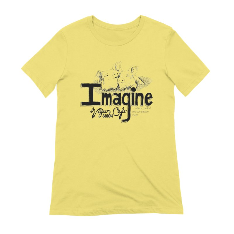 Imagine Logo in Black Women's T-Shirt by Imaginevegancafe's Artist Shop