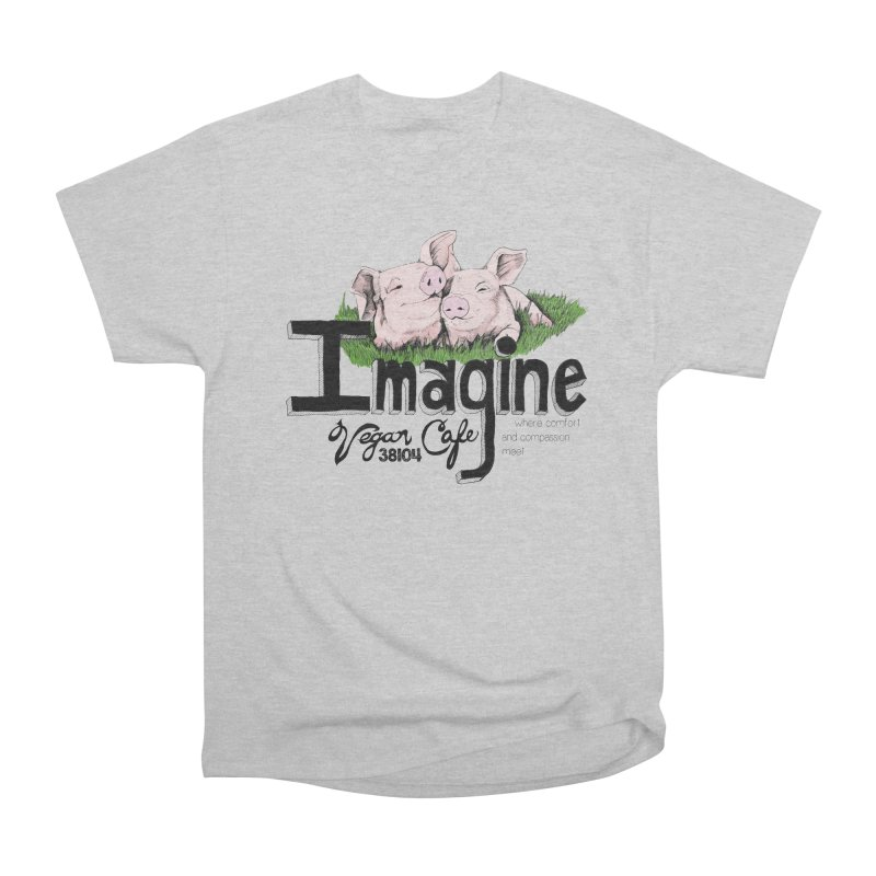 Imagine Piggy Shirt Women's Heavyweight Unisex T-Shirt by Imaginevegancafe's Artist Shop