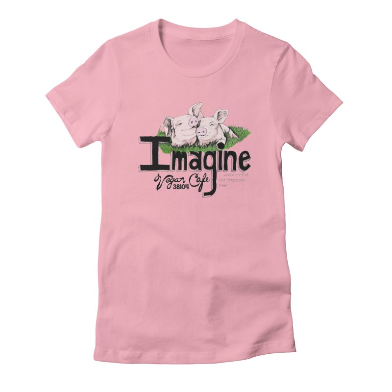 Imagine Piggy Shirt Women's Fitted T-Shirt by Imaginevegancafe's Artist Shop