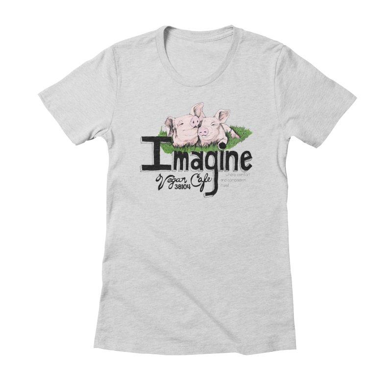 Imagine Piggy Shirt Women's Fitted T-Shirt by Imaginevegancafe's Artist Shop