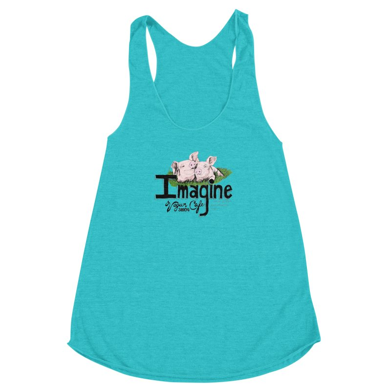 Imagine Piggy Shirt Women's Racerback Triblend Tank by Imaginevegancafe's Artist Shop