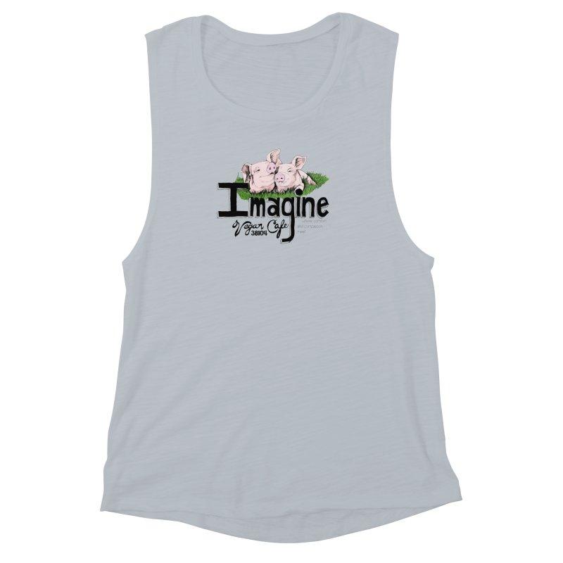 Imagine Piggy Shirt Women's Muscle Tank by Imaginevegancafe's Artist Shop