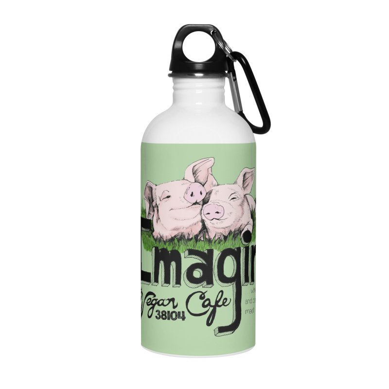 Imagine Piggy Shirt Accessories Water Bottle by Imaginevegancafe's Artist Shop