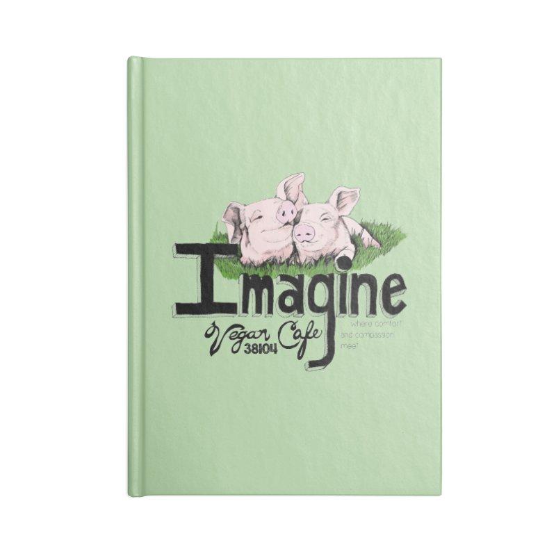 Imagine Piggy Shirt Accessories Lined Journal Notebook by Imaginevegancafe's Artist Shop