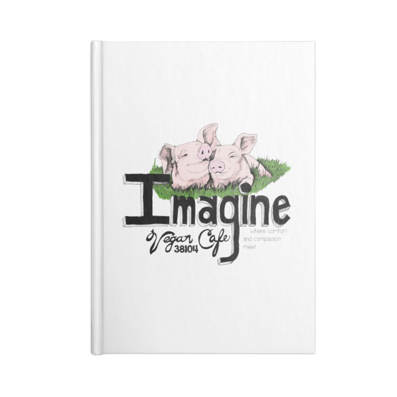 Imagine Piggy Shirt Accessories Lined Journal Notebook by Imaginevegancafe's Artist Shop