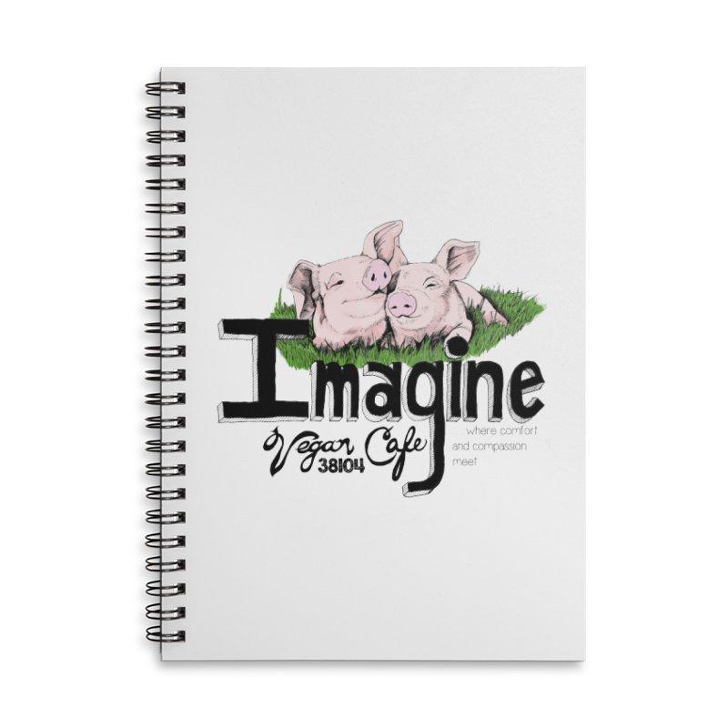 Imagine Piggy Shirt Accessories Lined Spiral Notebook by Imaginevegancafe's Artist Shop