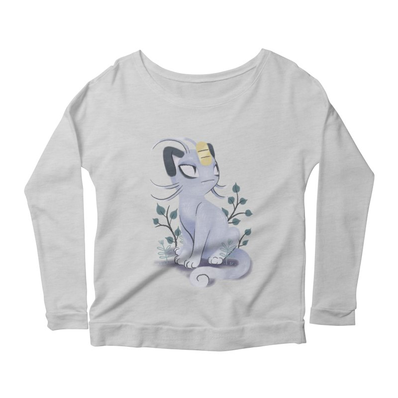 Alolan Meowth Women's Longsleeve Scoopneck  by ImogenSartain's Artist Shop