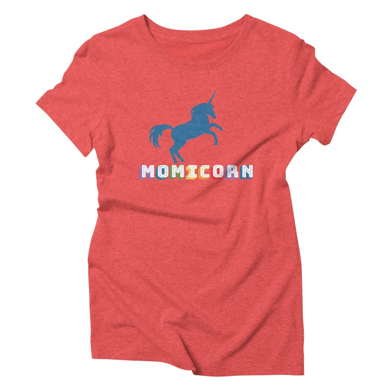 Momicorn in Women's Triblend T-Shirt Chili Red by Improv Parenting Shop