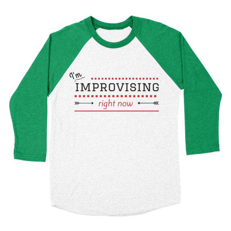 I'm Improvising in Men's Baseball Triblend Longsleeve T-Shirt Tri-Kelly Sleeves by Improv Parenting Shop