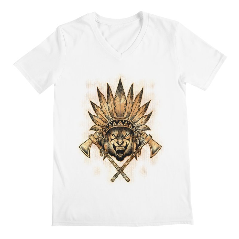 CHIEF WOLF Men's V-Neck by Inkdwell's Artist Shop