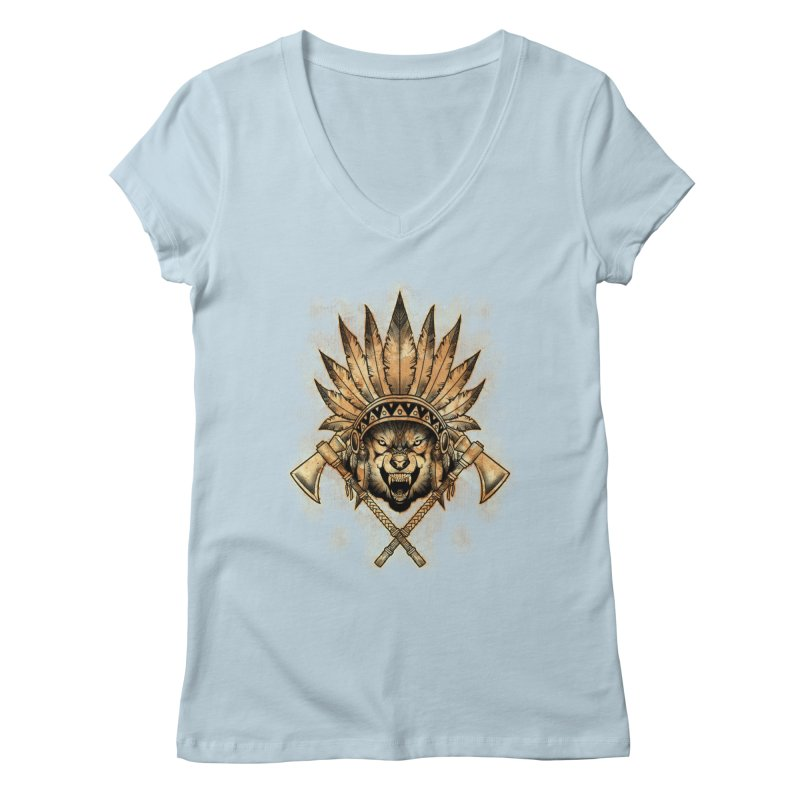 CHIEF WOLF Women's V-Neck by Inkdwell's Artist Shop