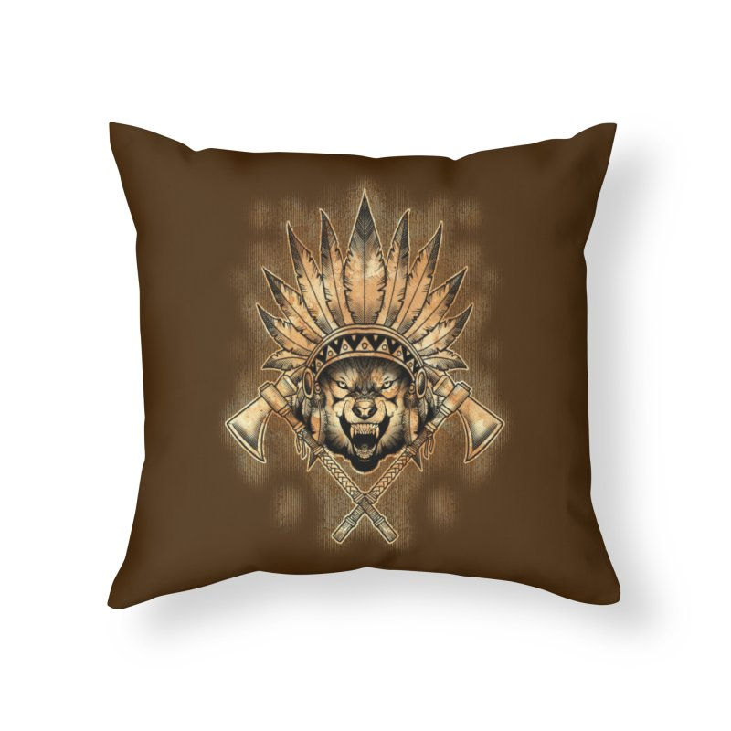 CHIEF WOLF Home Throw Pillow by Inkdwell's Artist Shop