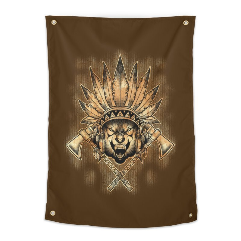 CHIEF WOLF Home Tapestry by Inkdwell's Artist Shop