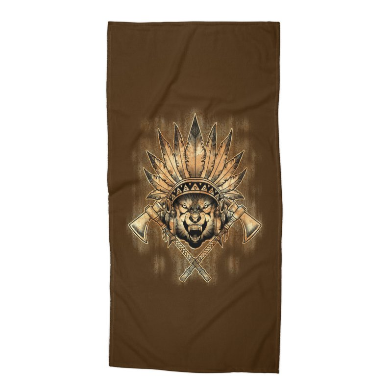CHIEF WOLF Accessories Beach Towel by Inkdwell's Artist Shop