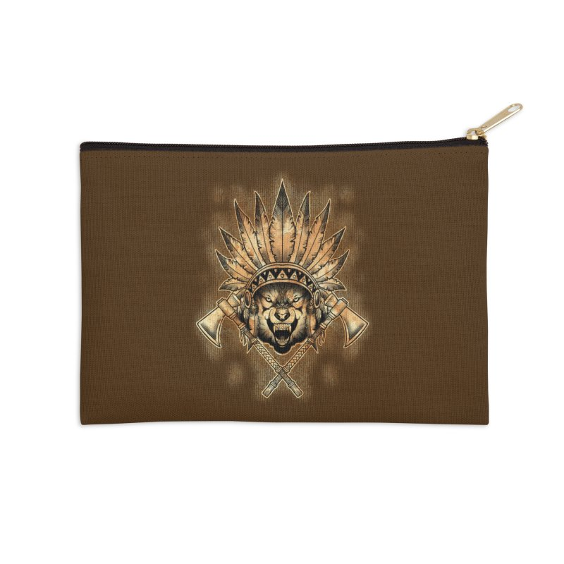 CHIEF WOLF Accessories Zip Pouch by Inkdwell's Artist Shop