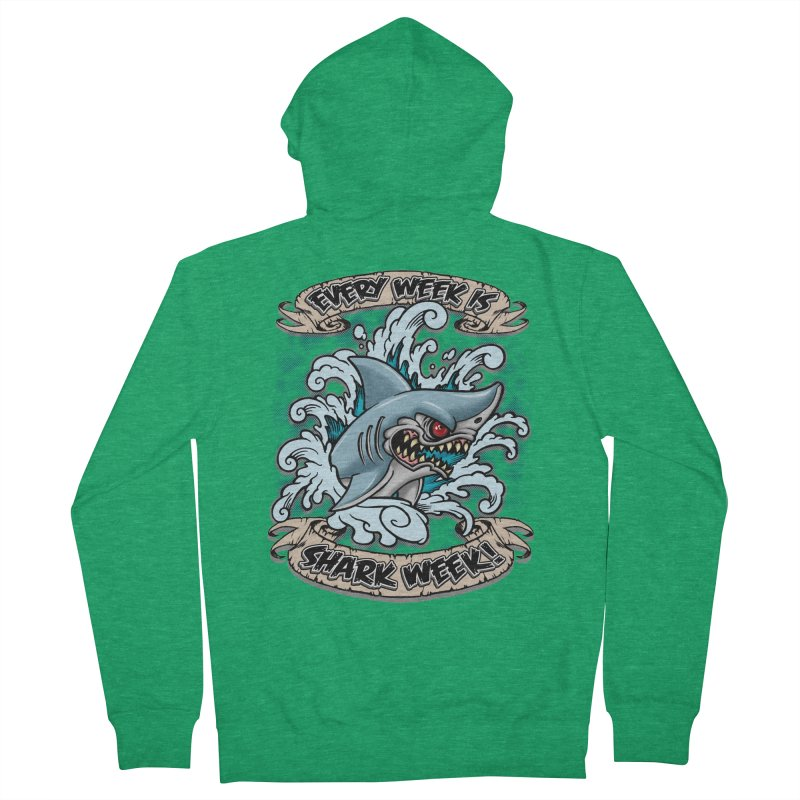 SHARK WEEK! Women's Zip-Up Hoody by Inkdwell's Artist Shop
