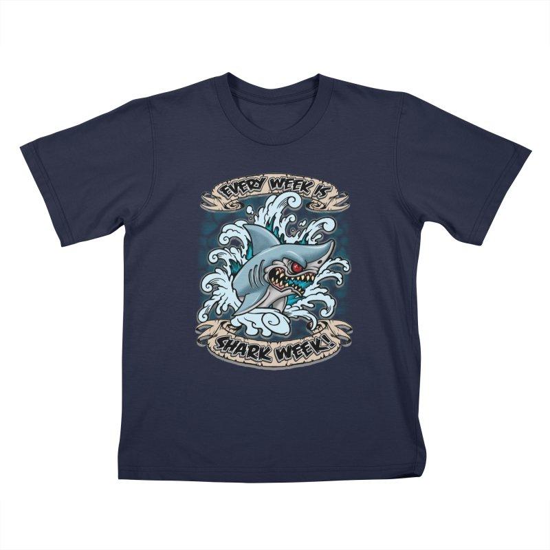 SHARK WEEK! Kids T-Shirt by Inkdwell's Artist Shop