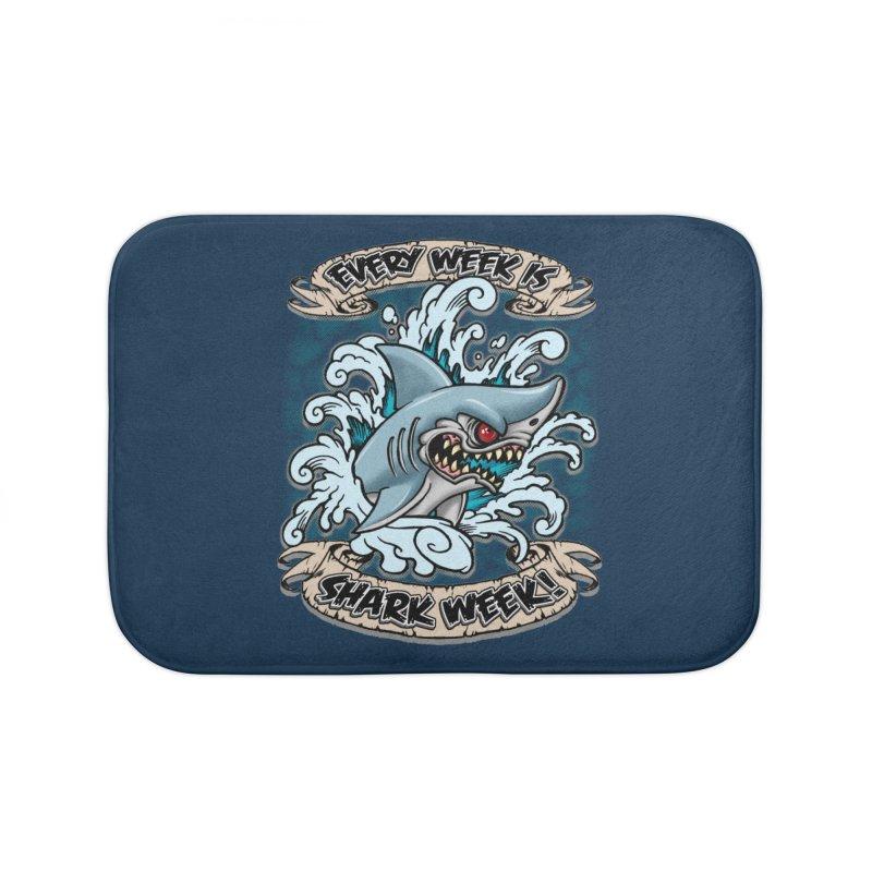 SHARK WEEK! Home Bath Mat by Inkdwell's Artist Shop