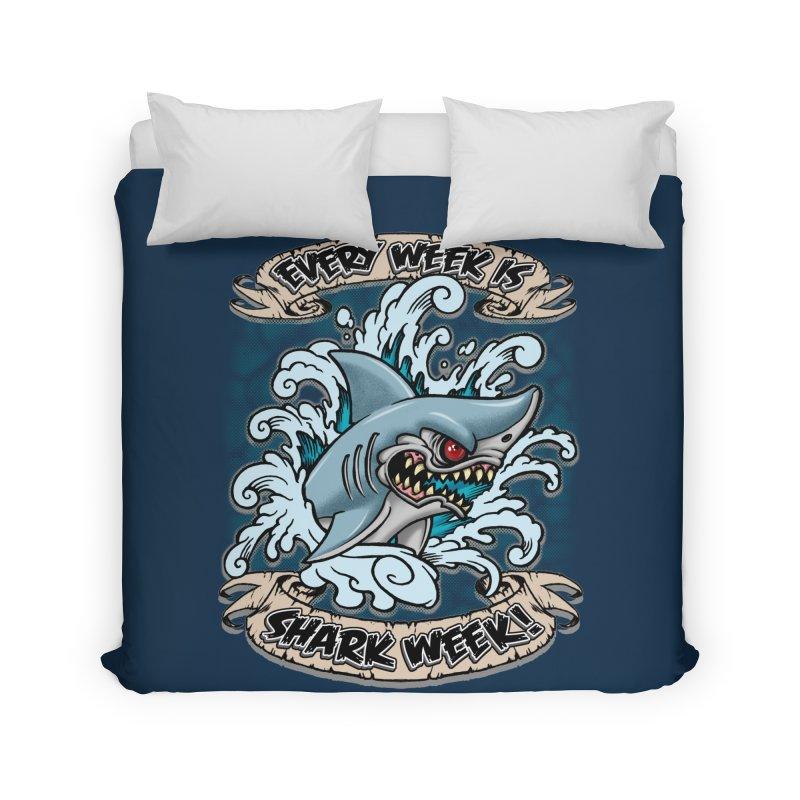 SHARK WEEK! Home Duvet by Inkdwell's Artist Shop