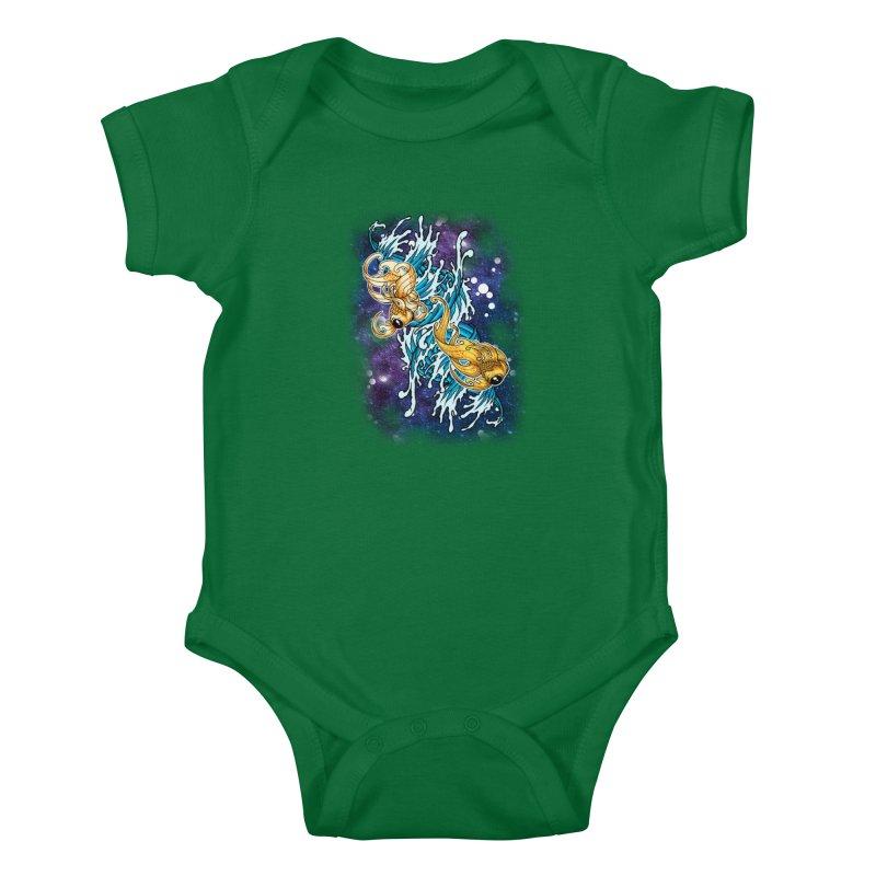 SPACE FISH Kids Baby Bodysuit by Inkdwell's Artist Shop