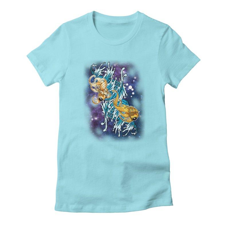 SPACE FISH Women's T-Shirt by Inkdwell's Artist Shop