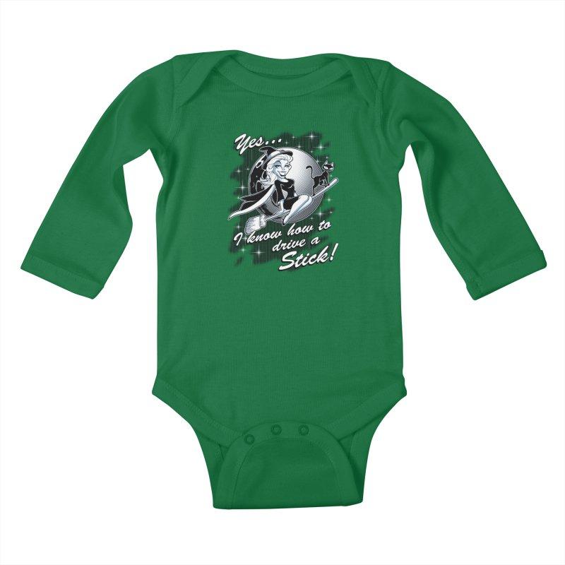 WITCH STICK Kids Baby Longsleeve Bodysuit by Inkdwell's Artist Shop