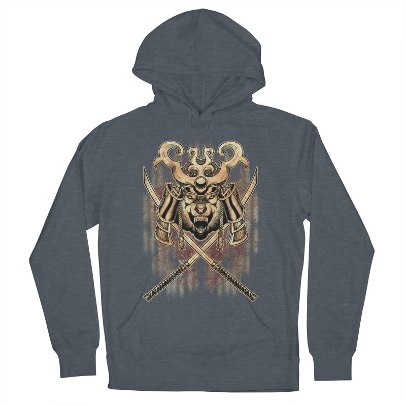 SAMURAI WOLF Men's French Terry Pullover Hoody by Inkdwell's Artist Shop