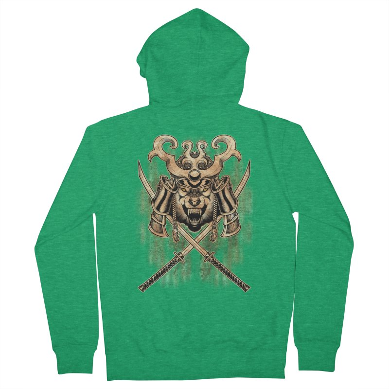 SAMURAI WOLF Women's Zip-Up Hoody by Inkdwell's Artist Shop