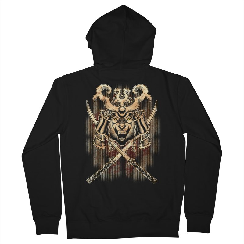 SAMURAI WOLF Women's French Terry Zip-Up Hoody by Inkdwell's Artist Shop
