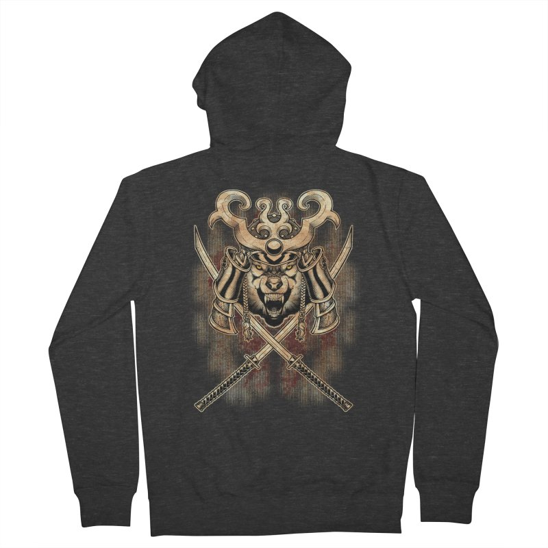 SAMURAI WOLF Men's Zip-Up Hoody by Inkdwell's Artist Shop