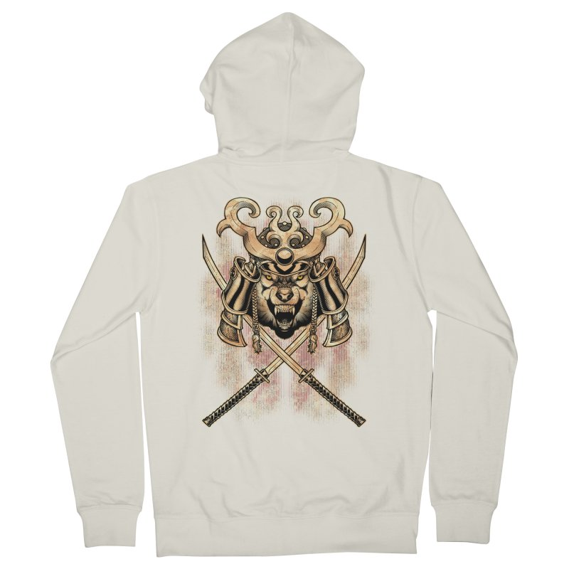 SAMURAI WOLF Men's French Terry Zip-Up Hoody by Inkdwell's Artist Shop