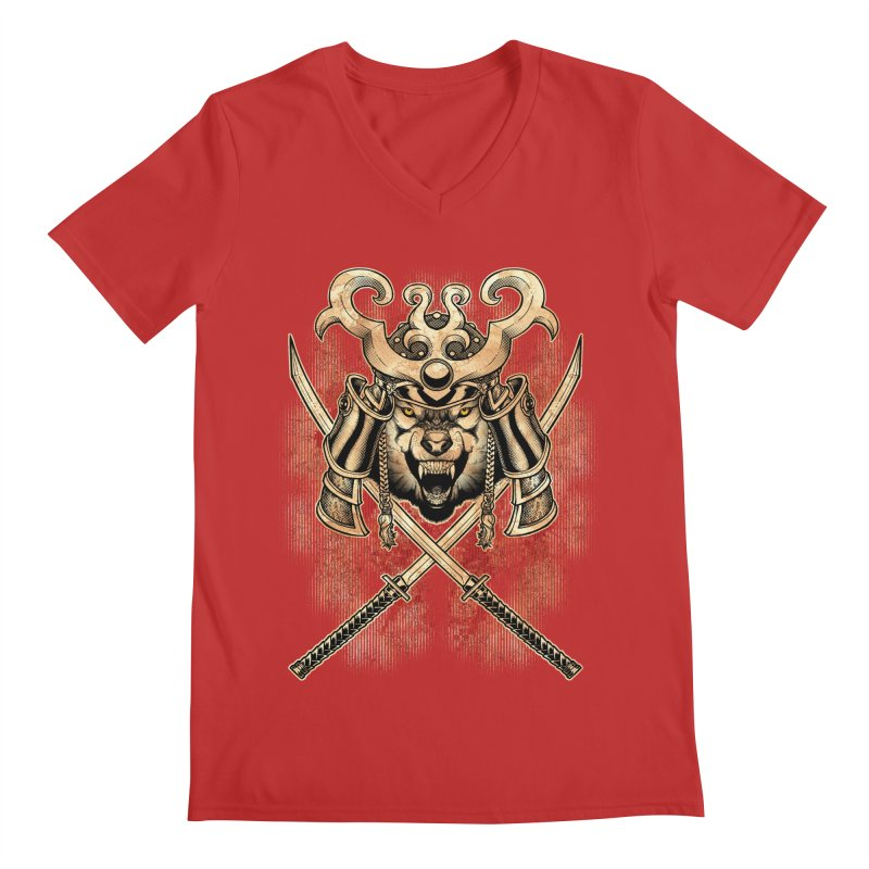 SAMURAI WOLF Men's V-Neck by Inkdwell's Artist Shop