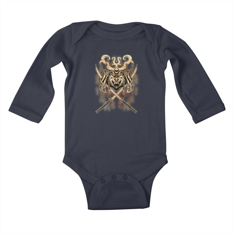 SAMURAI WOLF Kids Baby Longsleeve Bodysuit by Inkdwell's Artist Shop