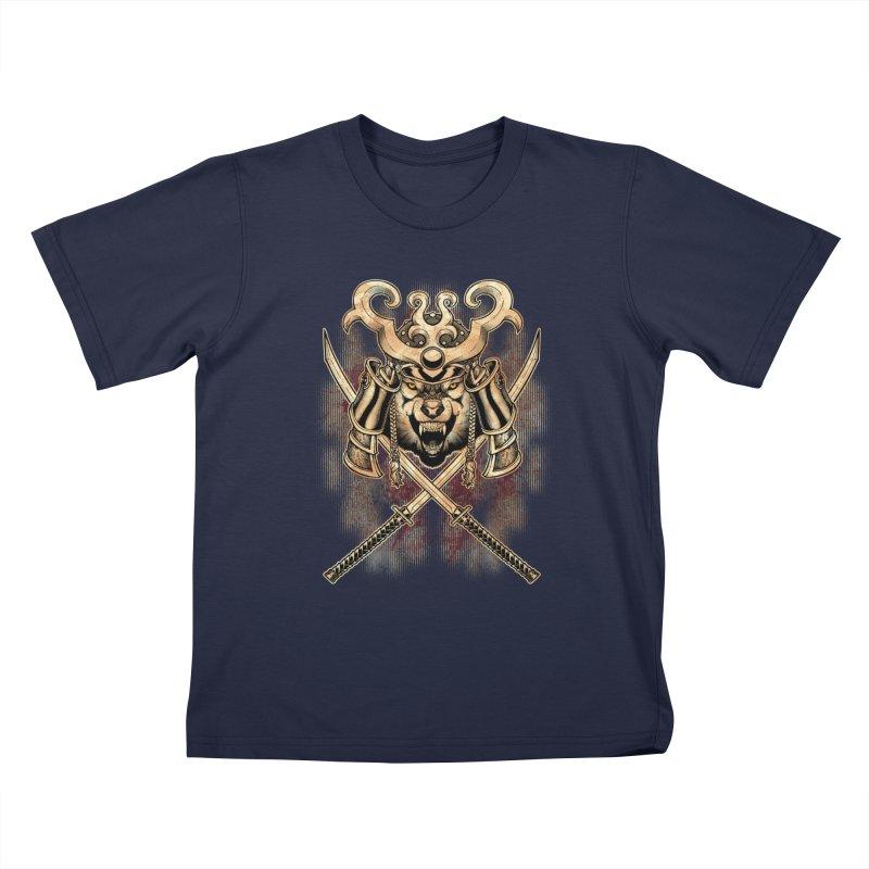 SAMURAI WOLF Kids T-Shirt by Inkdwell's Artist Shop
