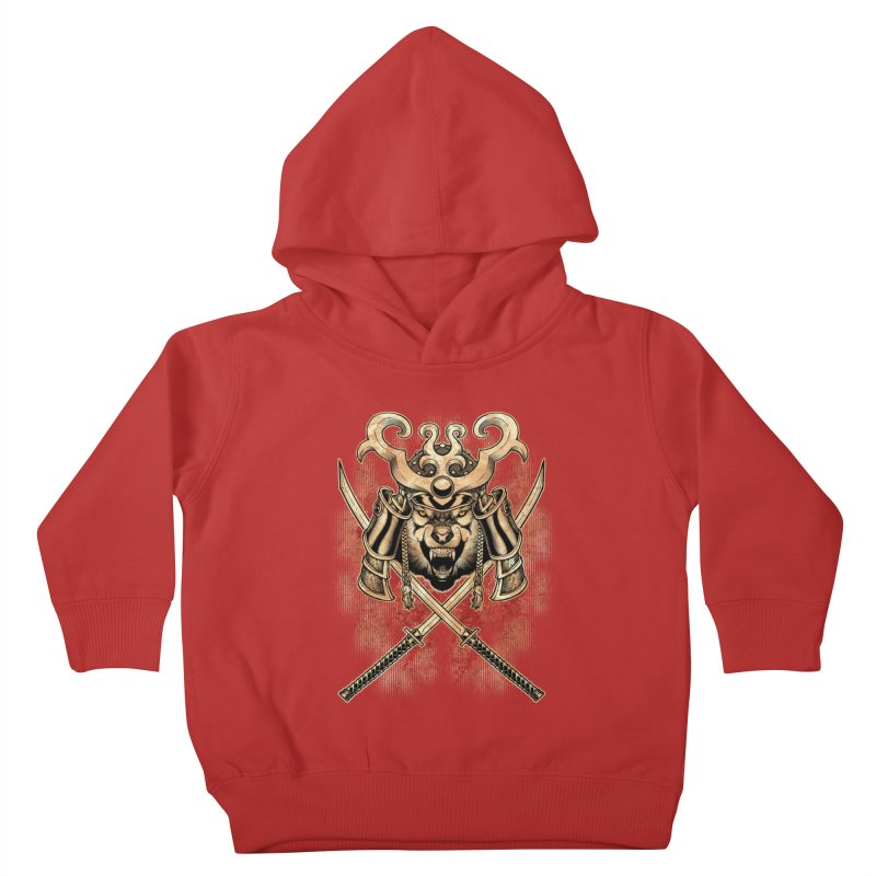 SAMURAI WOLF Kids Toddler Pullover Hoody by Inkdwell's Artist Shop