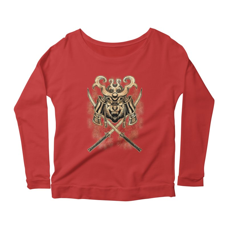 SAMURAI WOLF Women's Scoop Neck Longsleeve T-Shirt by Inkdwell's Artist Shop