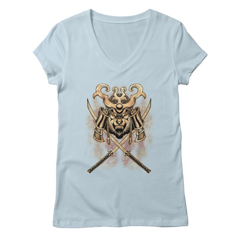 SAMURAI WOLF Women's Regular V-Neck by Inkdwell's Artist Shop