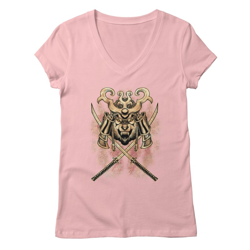 SAMURAI WOLF Women's V-Neck by Inkdwell's Artist Shop