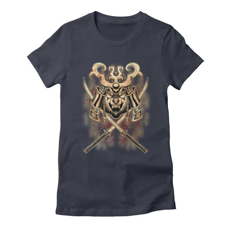 SAMURAI WOLF Women's Fitted T-Shirt by Inkdwell's Artist Shop