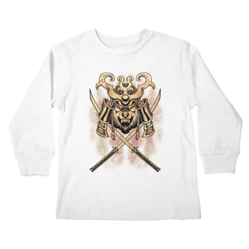 SAMURAI WOLF Kids Longsleeve T-Shirt by Inkdwell's Artist Shop