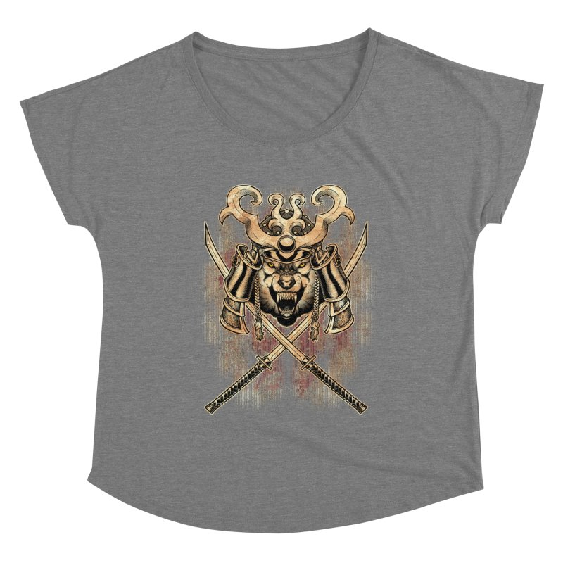 SAMURAI WOLF Women's Scoop Neck by Inkdwell's Artist Shop