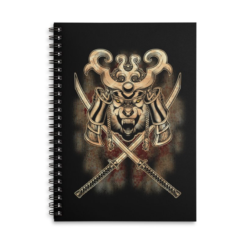 SAMURAI WOLF Accessories Lined Spiral Notebook by Inkdwell's Artist Shop