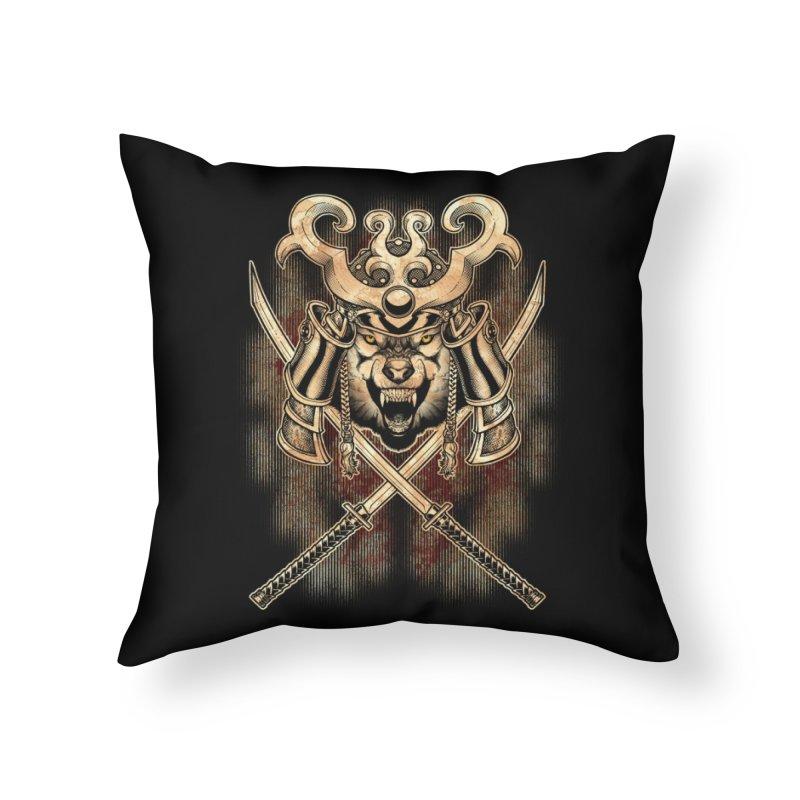 SAMURAI WOLF Home Throw Pillow by Inkdwell's Artist Shop