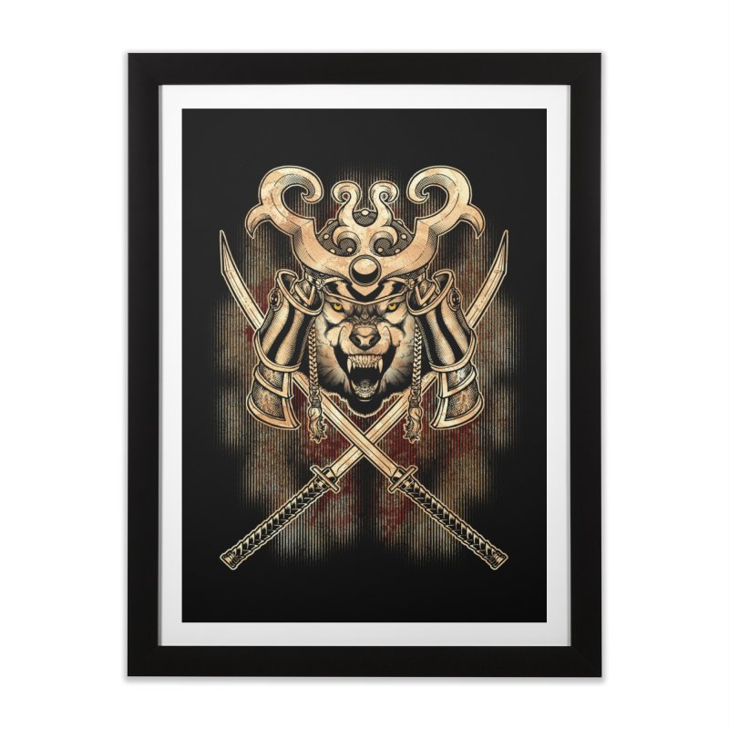 SAMURAI WOLF Home Framed Fine Art Print by Inkdwell's Artist Shop