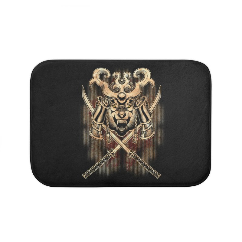 SAMURAI WOLF Home Bath Mat by Inkdwell's Artist Shop