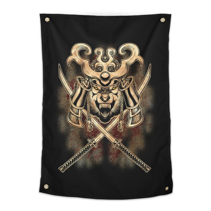 SAMURAI WOLF Home Tapestry by Inkdwell's Artist Shop